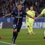 Verratti celebra un gol del PSG contra el Barcelona